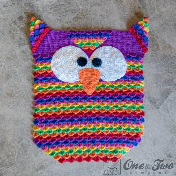 Crochet Owl Rug Pattern: Instant Download PDF CROCHET PATTERN Colorful Owl Rug