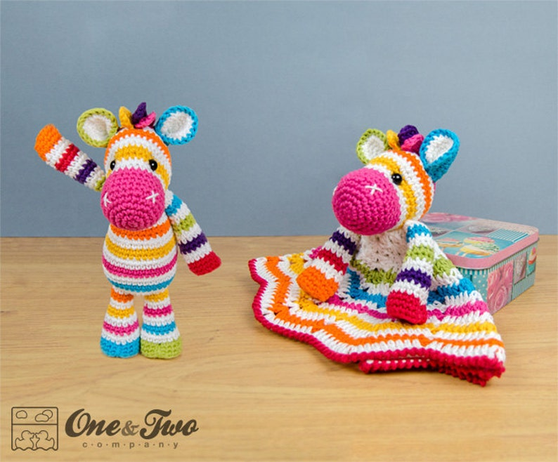 Combo Pack Rainbow Zebra Lovey and Amigurumi Set for 7.99 image 0