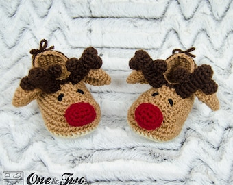 Reindeer Booties - PDF Crochet Pattern - Toddler sizes ( US 6, 7-8, 9 ) - Shoes Baby Toddler Slippers