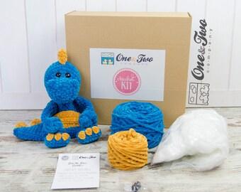 Dan the Dino Cuddler (Blue and Yellow version) - DIY Crochet KIT