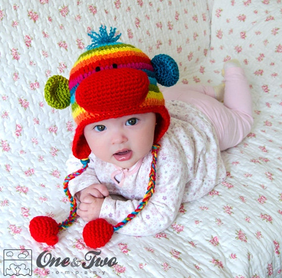 Rainbow Sock Monkey Hat Pdf Crochet Pattern 7 Sizes Etsy