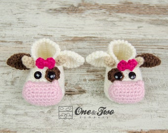 Doris the Cow Booties - PDF Crochet Pattern - Baby sizes ( 0-3, 3-6, 6-12 months ) - Shoes Baby Newborn Slippers