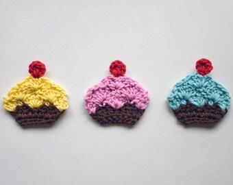 Cupcake Applique - PDF Crochet Pattern - Instant Download - Embellishment Accessories Decor Ornament Scrapbooking Motif