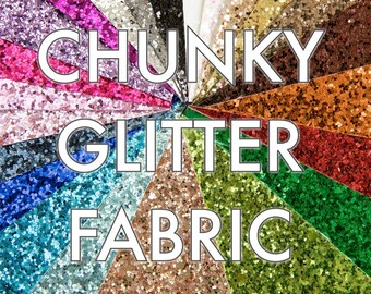 Glitz Chunky Glitter Fabric - 20 sparkly colours, Safe to use for childrens projects