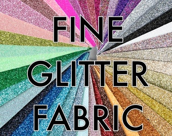 Shimmer Fine Glitter Fabric - 35 colours, safe for childrens projects, bows and dolls