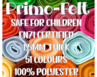 Primo-Felt, Polyester Felt - 51 colours - Soft, Strong, Smooth - EN71 tested for Toy and Doll making