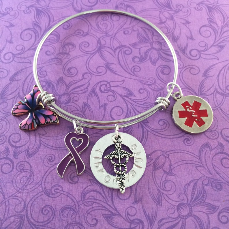 Purple Ribbon Hand Stamped Red Star Fibromyalgia Medical Alert Bangle Charm Bracelet Expandable Stainless Steel with Caduceus Butterfly
