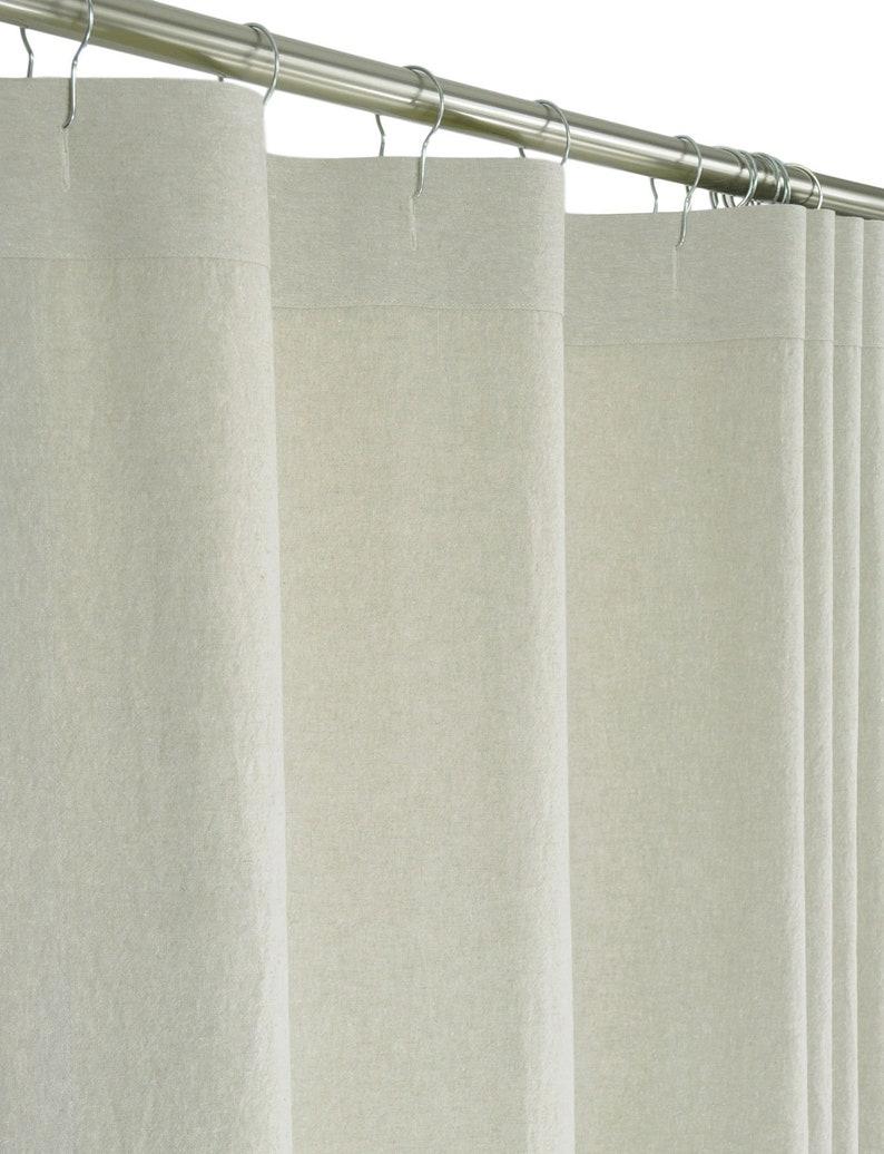 Extra Wide Beige Linen Shower Curtain Buttonholes 108 Wide X 72 78 84 Long Preshrunk Linen