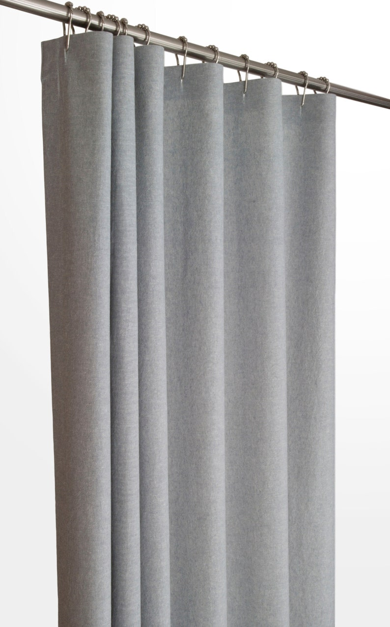 Grey Linen Shower Curtain 72 Wide Extra Long Sizes Preshrunk