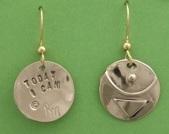 """Bronze  """"Today I Can"""" Earrings"""