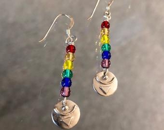 Sterling earrings,rainbow,empowered symbol,dangle earrings, beaded earrings, inspirational,empowerment
