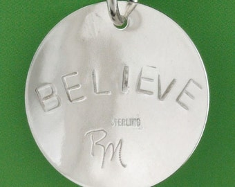 """Sterling Silver Empowered Zone """"BELIEVE"""" pendant"""
