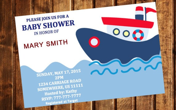 Printable Nautical Baby Shower Invitation Template Etsy