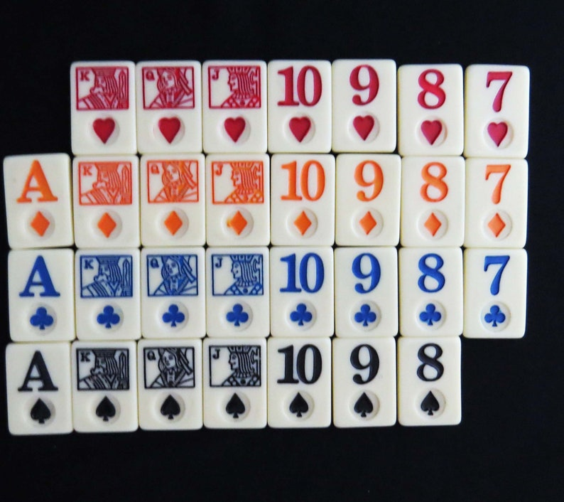 3 Missing Cards /& no Jokers Vintage Set of Rare PLAYING CARD TILES with 49 Cards 1.5 Long x 1 Wide x .25 Deep