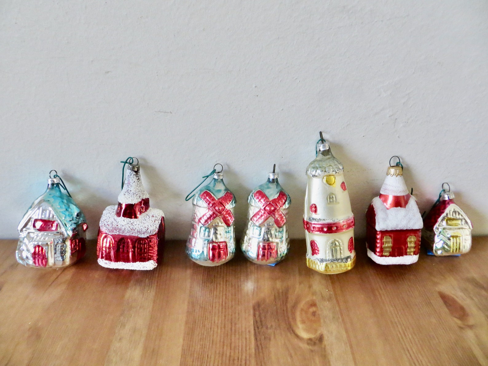 Vintage West German Glass Village Christmas Ornaments / Set of 7 / Made in West Germany