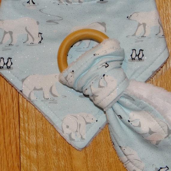 100% Cotton Bright Arrows On Grey Bunny Ears Teether Taggie