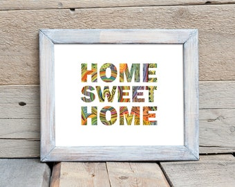 Home Sweet Home Print, Typographic Artwork, Housewarming Gift, Realtor Gift, Closing Gift, Family Decor, New Homeowner Gift, First Home Gift