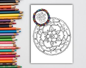 Color Therapy To Go, Coloring Pages, Postcard Set, Kids Camp Gift, Women's Relaxation Gift, Mindfulness Gift, Graduation Gift,Adult Coloring