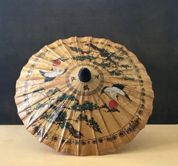 Vintage Hand Painted Asian Parasol