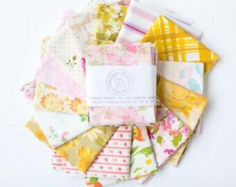 Vintage Sheet Fat Quarter Bundle, Warm Colors, 6 Fat Quarters, vintage sheets, vintage fabric fat quarter bundle, pink, yellow, orange