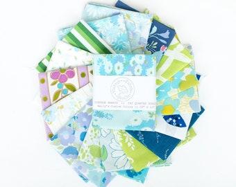Vintage Sheet Fat Quarter Bundle, Cool Colors, 6 Fat Quarters, vintage sheets, vintage fabric fat quarter bundle, blue, green, purple