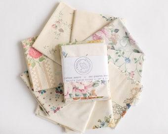 Vintage Sheet Fat Quarter Bundle, Cream Prints, 6 Fat Quarters, vintage sheets, vintage fabric fat quarter bundle, cream background prints