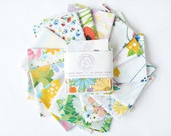 Vintage Sheets - Fat Quarter Bundle - Colorful Prints - 6 FQ Pack - Quilter - Similar to Prints Shown - Custom Vintage Sheet Fabric Bundle