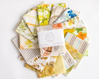 Vintage Sheet Fat Quarter Bundle, Fall Colors, 6 Fat Quarters, vintage sheets, vintage fabric fat quarter bundle, autumn, brown, tan, yellow