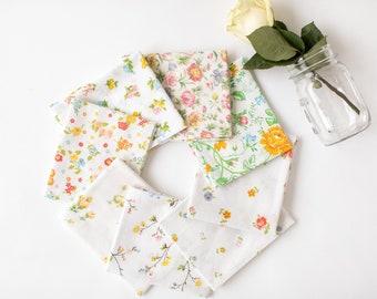Vintage Sheet Fat Quarter Bundle, Tiny Flowers, 6 Fat Quarters, vintage sheets, vintage fabric fat quarter bundle, low volume,vintage floral