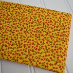 """1/2 yard cuts - Vintage Fabric - Small Red Flowers on Yellow Calico  - 18"""" Wide - 35"""" Selvage to Selvage length"""