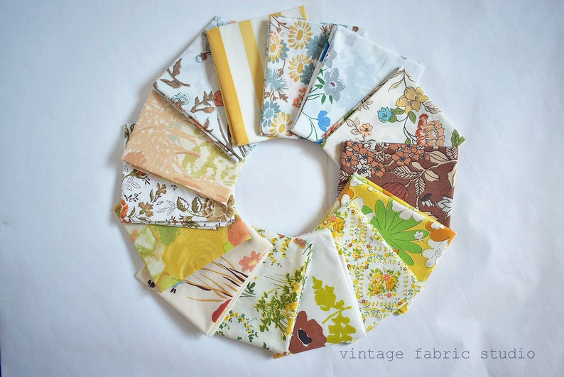 Vintage Sheets  Fall Colors  Fat Quarter Bundle  6 FQ Pack image 0