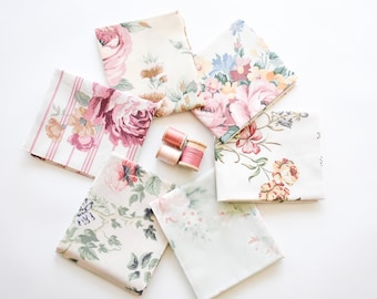 Vintage Sheet Fat Quarter Bundle, Dusty Rose, 6 Fat Quarters, vintage sheets, vintage fabric fat quarter bundle, pink, floral, shabby chic
