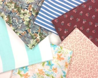 Vintage fabric fat quarter bundle; blue, maroon, teal, green prints
