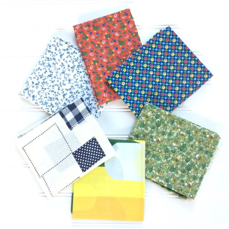 Vintage fabric 6 fat quarter bundle yellow green blue red image 0