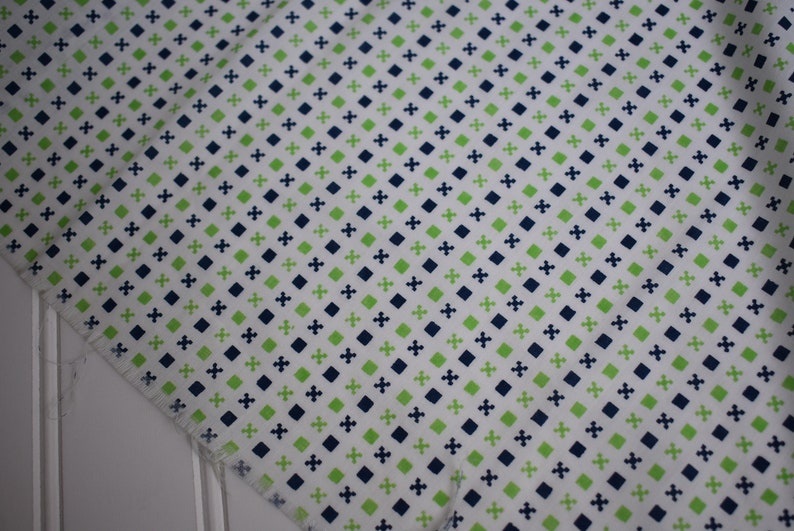 Vintage Fabric   Green and Navy Geometric  lightweight image 0