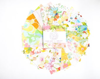 Charm Pack, All Colors, Vintage Sheet Charm Packs, 5 inch squares, vintage fabric quilting, vintage sheets quilt kit, mix and match color