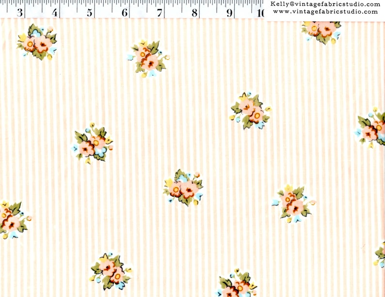 Vintage Sheet Yardage Peachy Bouquets on Small Stripe by the image 0