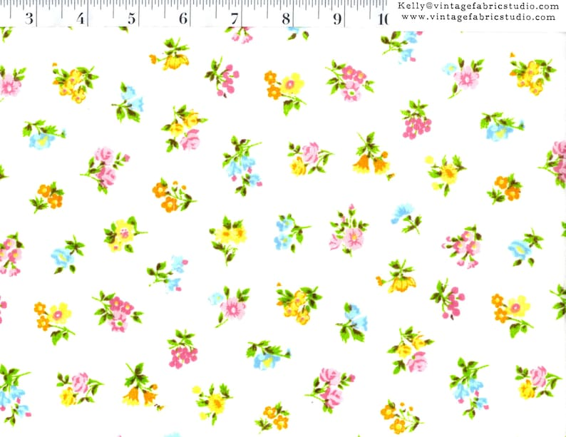Vintage Sheet Yardage Small Bright Floral Bouquets by the image 0