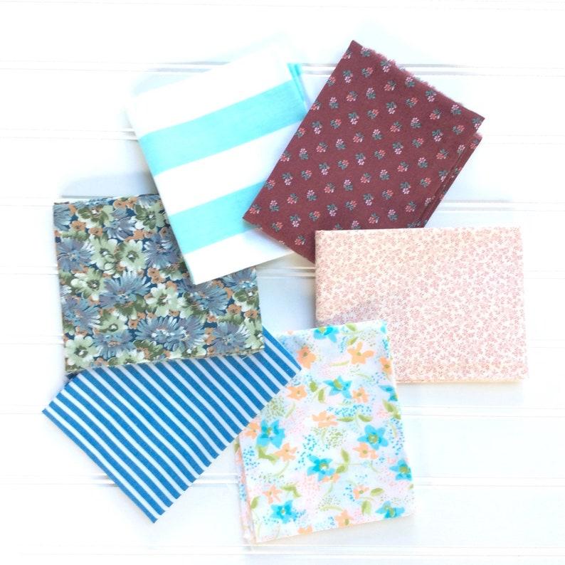 Vintage fabric 6 fat quarter bundle blue maroon teal green image 0