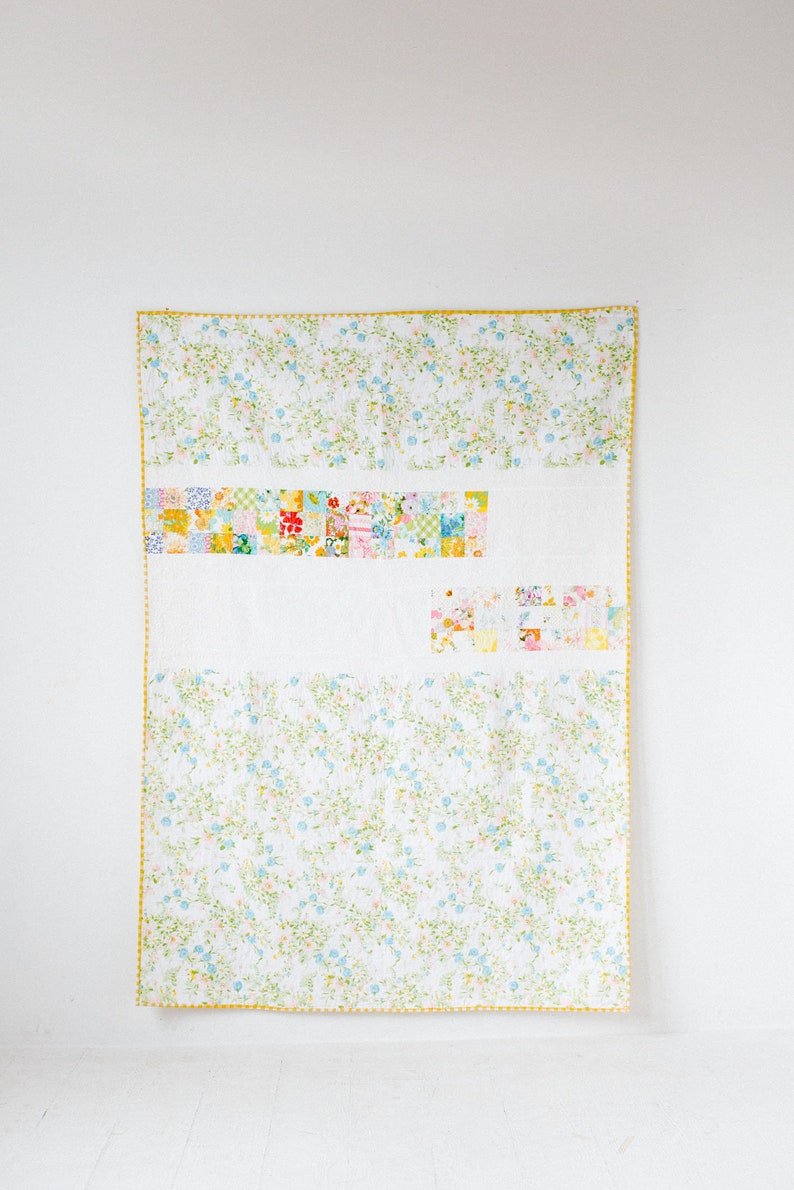 Twin Quilt Modern Vintage Mix Vintage Sheet Quilt Yellow image 0