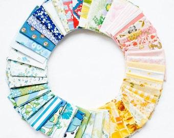Vintage Sheet Fat Quarter Bundle, Rainbow Colors, 6 Fat Quarters, vintage sheets, vintage fabric fat quarter bundle, ROYGBIV