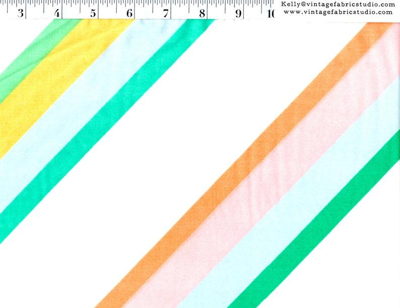Vintage Sheet Yardage Diagonal Stripe in Pastel Green image 0