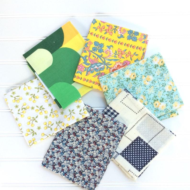 Vintage fabric 6 fat quarter bundle yellow blue green image 0