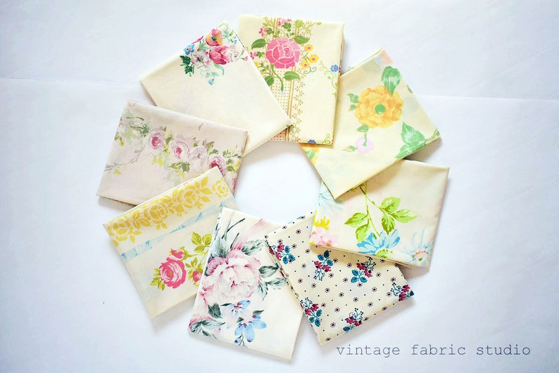 Vintage Sheets  Fat Quarter Bundle  6 FQ Pack  Vanilla image 0