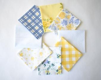 Vintage Sheet Fat Quarter Bundle, Blue & Yellow, 6 Fat Quarters, vintage sheets, vintage fabric fat quarter bundle, blue floral, yellow