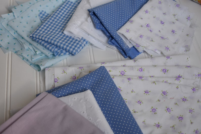 Vintage Fabric Small Cuts  Pretty Purples/White/Baby Blue  image 0