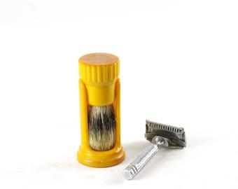 Vintage Bakelite Shaving Brush and Holder, Ever Ready Shaving Brush with Natural Bristles, Butterscotch Bakelite, Badger Bristle Brush
