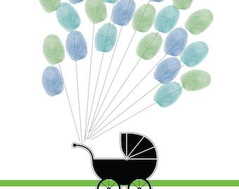 Fingerprint Balloons & Carriage for Baby Shower