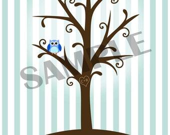 Fingerprint Tree for Baby Shower, Party, Birthday, etc.