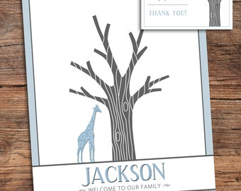 Giraffe Fingerprint Tree Guestbook for Shower, Birthday, Party